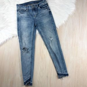 Zara Distressed Raw Hem Denim Basic Skinny Jeans